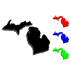 3d map of michigan vector image