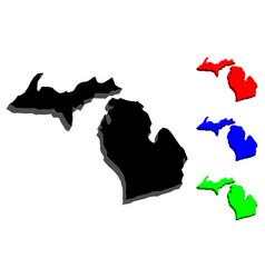 3d map of michigan vector