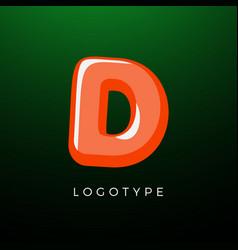 3d playful letter d kids and joy style symbol vector