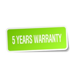 5 years warranty green square sticker on white vector