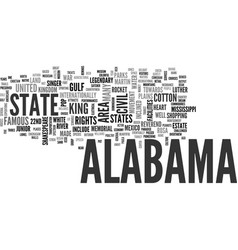 Alabama text word cloud concept vector