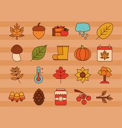 autumn season weather icons set stickers line vector image