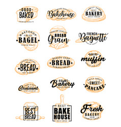 Bakery products with pastry lettering vector