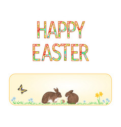 banner happy easter rabbits and easter egg vector image