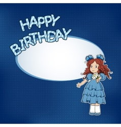 Birthday card with little girl vector