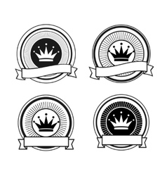 Black and white retro crown stamps vector