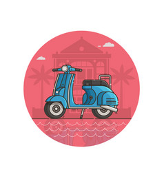 blue scooter seaside icon in line art vector image