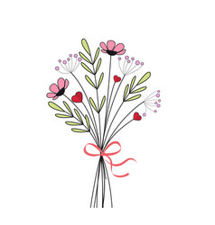 bouquet meadow flowers vector image