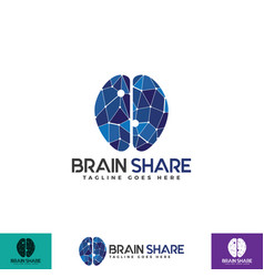 brain share logo with polygonal style vector image