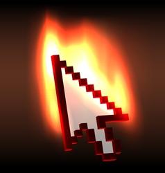 Burning computer cursor arrow vector image