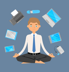 Business man office meditation relax with office vector
