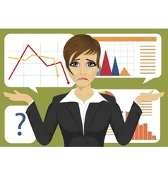 businesswoman throws up her hands against charts vector image