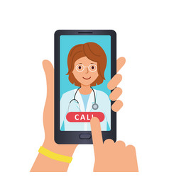 call doctor on phone using the media platform vector image
