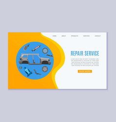 Car repair service banner with auto parts wheels vector