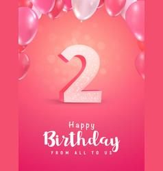 Celebrating 2 years birthday 3d vector