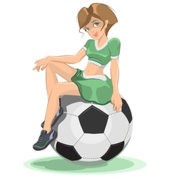Cheerleader girl sitting on the soccer ball vector