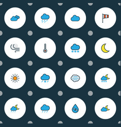 climate icons colored line set with sunlight vector image