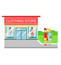 clothing store building and two smiling women with vector image