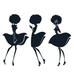 Collection of girl silhouettes in disco sty vector