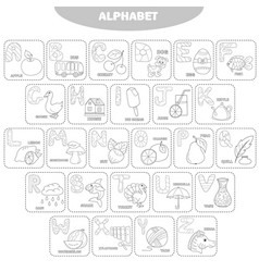 coloring page english alphabet with pictures and vector image