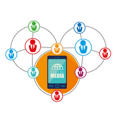 Community with social media icon vector