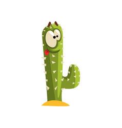 Creen cactus character with big eye succulent vector