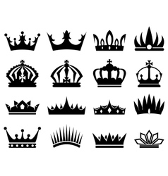 Crowns silhouette set vector