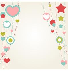 Cute congratulation card with border hearts vector