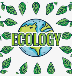 Cute emblem of earth planet ecology vector