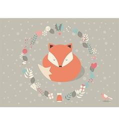 Cute sleepy Christmas fox floral decoration vector