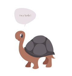 cute turtle isolated on white background vector image