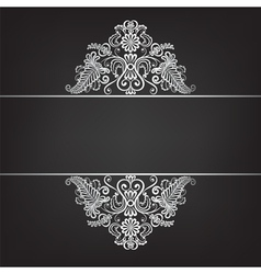 Dark background with silver ornament vector image