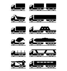 different types trucks vector image