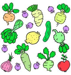 Doodle fresh vegetable set art vector