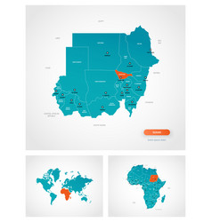 editable template map sudan with marks vector image