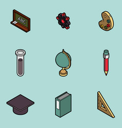 education flat outline isometric set vector image
