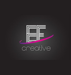 Ef e f letter logo with lines design and purple vector