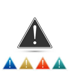 Exclamation mark in triangle icon isolated vector