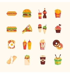Fast Food Cafe Menu Icons Set vector image