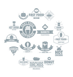 Fast food logo icons set simple style vector
