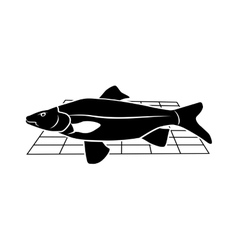 Fish on grille icon Food animal symbol vector image