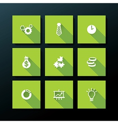 Flat business icon set vector