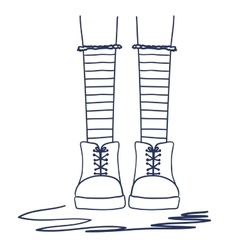 Foots young girl socks vector