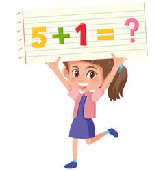Girl holding maths problem vector
