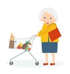 Grandmother is Shopping Old woman leisure time vector