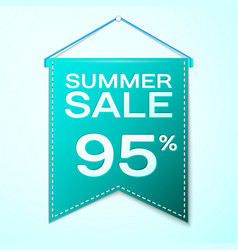 Green pennant with text summer sale ninety five vector