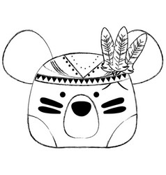 Grunge cute bear head animal with feathers vector
