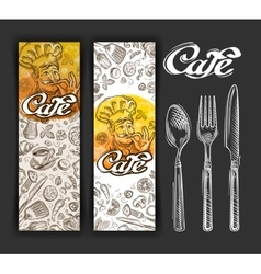 hand drawn cafe sketch and restaurant vector image