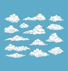hand drawn clouds pencil sketch sky cloudscape vector image