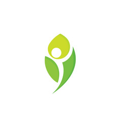 Healthy people logo green leaf man vector
